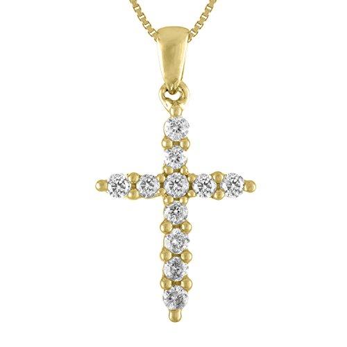 1/4ct Diamond Cross Pendant in 10K Yellow Gold (1/4 Ct Diamond Cross Pendant)
