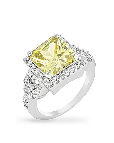 Halo Style Engagement Ring with 10mm Princess Cut Peridot Green