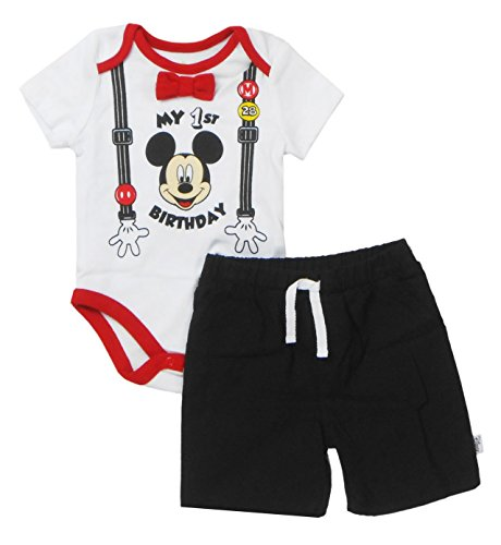 Disney Baby Boys' Mickey Mouse First Birthday Short Set, Multi, 12-18 Months]()