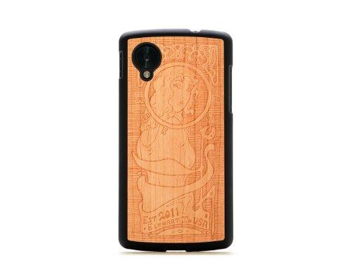 CARVED Matte Black Cherry Wood Case for Google Nexus 5 - Art Nouveau (N5-BC1K-E-ARTN)