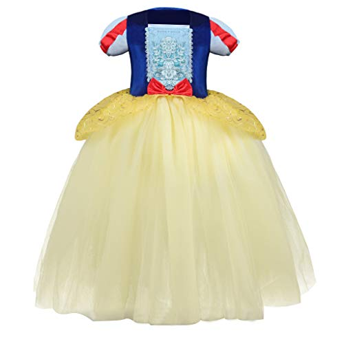 Halloween Baby Girls Party Dress, Kids Cosplay Tulle Princess Gown Dress Pleated Ruffles Patchwork Pageant Prom Dance Costumes (Blue, 5-6 Years)