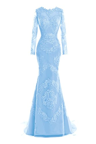 Appliques Mermaid Dress Sky Blue Lace Dora Evening Long Gowns Sleeve amp;Acute;s with Bridal Women Beaded Formal qOnSXT