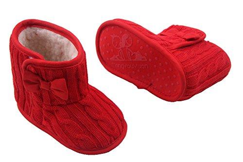 Zapatos de Bebé Niña ,Suela Blanda Antideslizante Botas de Nieve ,Prewalker Zapatos Rojo