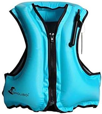 JINSHANDIANLIAO ライフジャケットの浮力ベストのベストインフレータブル折りたためるポータブル安全水泳リングダイビングのボルトをシュノーケリングキッズスイミングラップライフジャケット大人の子供たち ライフジャケット大浮力ベストベスト (Color : Blue)