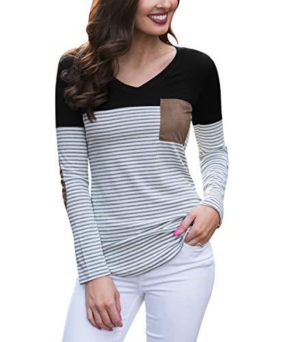 Kaislandy Womens V Neck Long Sleeve T Shirts Color Block Striped Pocket Casual Blouses Tops