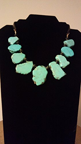 Slab Turquoise Necklace - Turquoise Slab and Blackstone Necklace