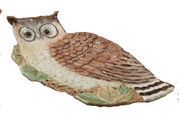 (Rustic Nature Figural Owl Candy Plate 11.75