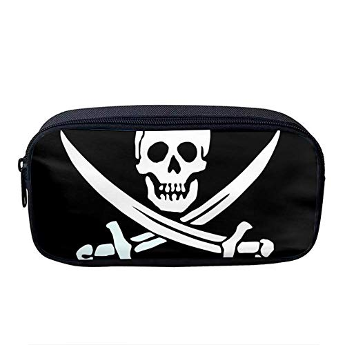 - Pencil Bag Pen Case,Oxford Fabric Students Stationery Pouch Zipper Bag for Pens, Pencils, Gel Pen, Markers, Eraser and Other School Supplies Jolly Roger Pirate Skull Black and White
