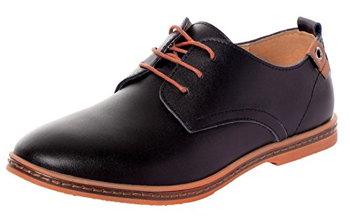 Serene Mens Classic Leather Soft Lace-Up Plain toe Sneakers Shoes Casual Oxfords (8 D(M)US, (Walker Plain Toe Oxford)