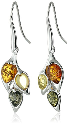 Rhodium Plated Sterling Silver Multicolored Amber Leaf Dangle Earrings