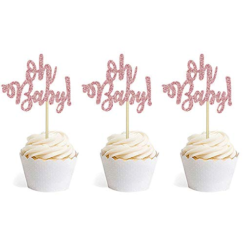 Baby Shower Cupcake Papers (Rose Gold Glitter Oh Baby Cake Cupcake Toppers Picks for Baby Shower Birthday Wedding Party Decorations 24)