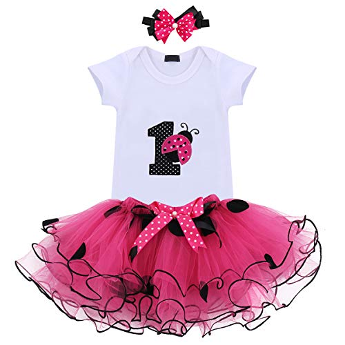 It's My 1st Birthday Outfit Baby Girl Romper Tutu Skirt Headband Clothes 3pcs Set Cake Smash Hot Pink Lady Bug