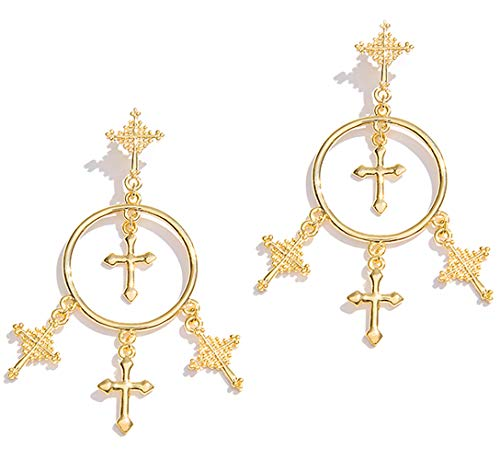 Gusii Gold Crown Cross Earrings,Unique Design of The Crown and Roman Numerals,Only for The Best of You