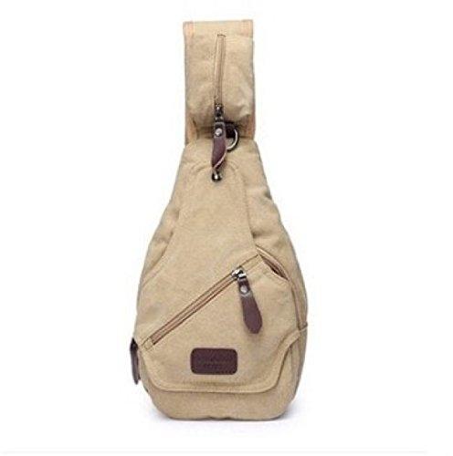 BULAGE Taschen Männer Leinwand Brusttaschen Sport Leder Nähen Freizeit Schulranzen Mode Schulter Uni Einfach Verschleißfest Khaki
