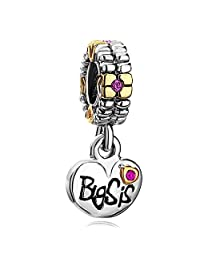 Heart of Charms Sister Charm Love Heart Shaped Big Sis with Crystal Dangle Bead for Bracelet