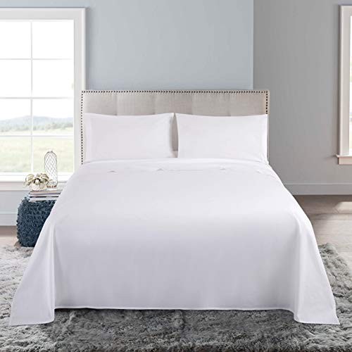 Villa Feel 100% Egyptian Cotton Queen Bed Sheet Set-600 Thread Count Percale Weave Bedding Sheets-Single Ply Long-Staple Yarns-Deep Pocket-4 Piece Luxury Bedding Sheet Set(Queen,White) ()