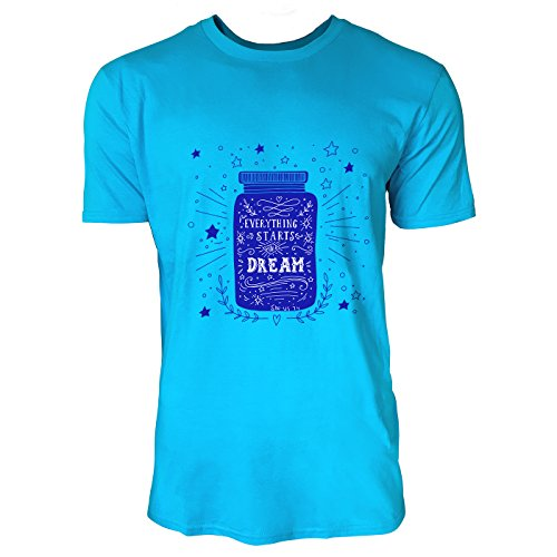 SINUS ART® Everything Starts With a Dream Herren T-Shirts in Karibik blau Cooles Fun Shirt mit tollen Aufdruck