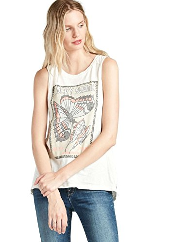 Lucky Brand - Women's - Marshmallow Butterfly Graphic Cotton Tank Top (Large)
