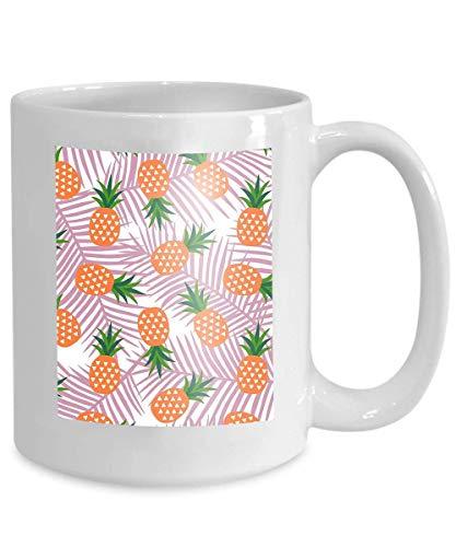 mug coffee tea cup orange pineapple triangles geometric fruit summer tropical fruit summer 110z