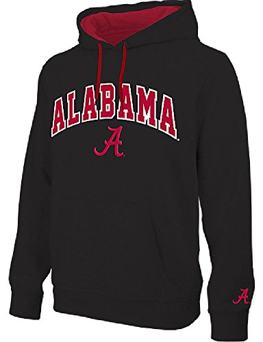 E5 NCAA Alabama Crimson Tide Black Embroidered College Classic Hoodie Sweatshirt ()