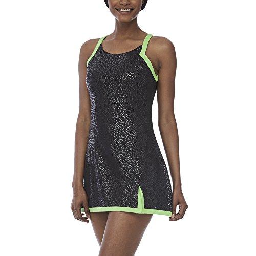 Fila Women's Spotlight Set Dress, Black, Lime Tonic, L