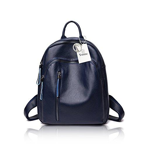 femmes à sacs bourgogne Marine de bandoulière à contraste Yoome main sac en cuir école filles sac dos Sac à couleur pour les mode 5qZR7