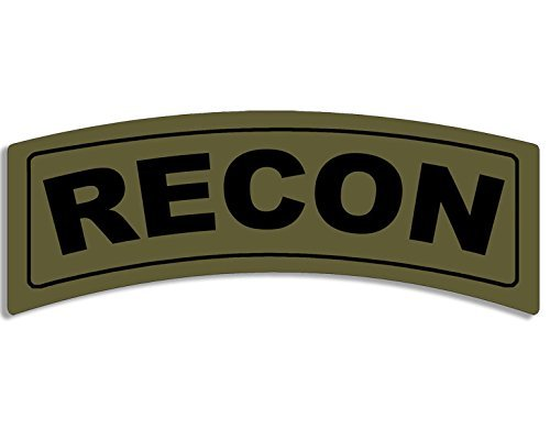 MAGNET Green RECON Tab Shaped Magnetic Sticker (army (Recon Full Shield)