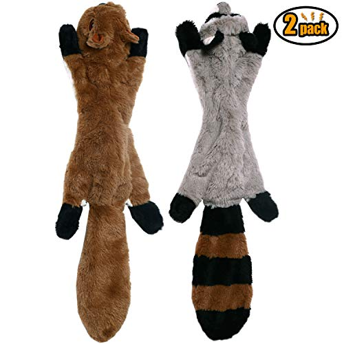 CNIMGBB No Stuffing Dog Toys with Squeakers, Durable Stuffingless Plush Squeaky Dog Chew Toy Set,Crinkle Dog Toy for Medium and Large Dogs(Squirrel Raccoon Fox Skunk and Penguin) (2 Pack)