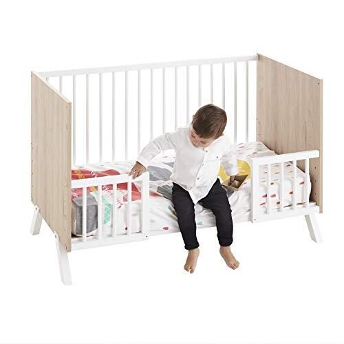 Cuna colecho Shira 120x60 + kit colecho + barandillas para convertir la cuna en cama