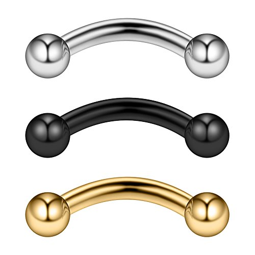 Ruifan 3PCS 14G 5/16 Inch Stainless Steel Curved Eyebrow Rings Petite Belly Rings Body Jewelry Piercing Set 3mm Ball - Mix Color 1#
