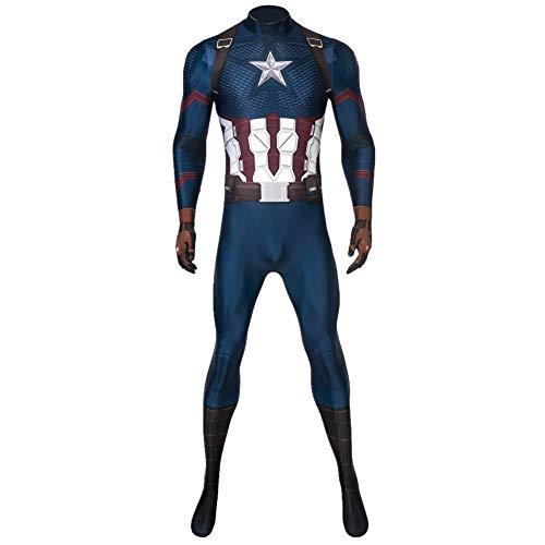 Captain America Bodysuit Costume (Superhero Captain Soldier Costume Deluxe Halloween Cosplay Jumpsuit)