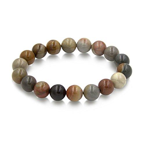 Handmade 10mm Round Natural Semi PreciousGemstone Beaded Stretch Solid Color Bracelets (Ocean (Ocean Beaded Bracelets)