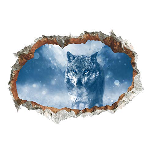 Vacally DIY 3D Wolf Painting Wall Stickers PVC Removable Kids Nursery Home Bedroom Living Room Wall Art Decor Mural Decals 50x70cm