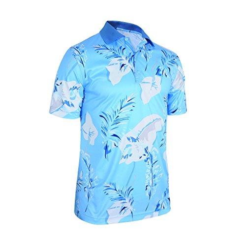 Monterey Club Men's Dry Swing Banana Leaves Polo Shirt #1590 (Dolphin/Blue Nights, Large)