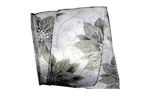 Renaissance 2000 2.5-Inch x 10yd Silver Poinsettia - Poinsettia Ribbon