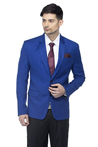 FAVOROSKI Designer Men's Slim Fit Notched Lapel Single Breasted Solid Blazer, Royal Blue