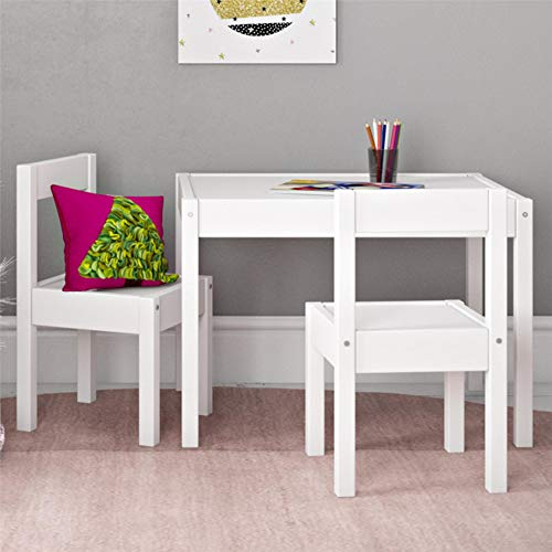 3 Piece Toddler Table and Chair Set, White For Nursery