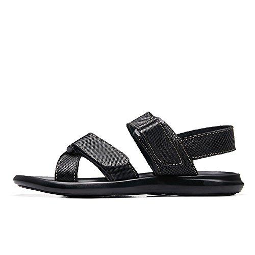 Nero EU spiaggia pelle uomo in cinturino con da vera Fibbia criss in da 44 Colore cross shoes Jiuyue da dimensione Scarpe Scarpe Nero uomo BwtqqSpg