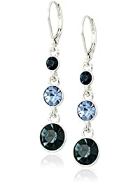 """Classics"" Silver-Tone and Blue Crystal Linear Drop Earrings"