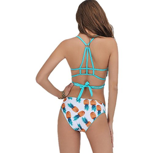 SHISHANG Señora bikini señoras traje de baño piña imprimir cruz correas bikini alto elástico estilo europeo y americano nuevo pineapple printing