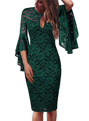 VFSHOW Womens Green Floral Lace Keyhole Front Ruffle Bell Sleeves Fitted Cocktail Party Sheath Dress 960 GRN XS