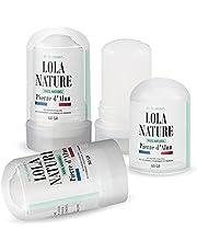 Pierre d'Alun Lola Nature - 3 pałeczki dezodorant de 60 g - 100% naturalny - Sans paraben ni chlorhydrate d'aluminium/Efficace contre les coupures du rasage