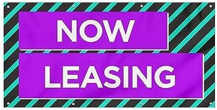 Now Leasing 8x4 CGSignLab Modern Block Wind-Resistant Outdoor Mesh Vinyl Banner