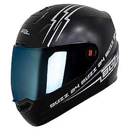 Steelbird SBA-1 Buzz Reflective Full Face Helmet with Extra Clear Visor(Medium 580 MM, Dashing Black with Chrome Blue…
