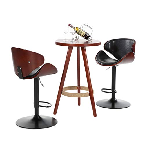 - NIHAI Bar Stools Set of 2 Black Leather Adjustable Lifting Barstools- Lattice Computer Chair Front Desk High Chair- Bar Backrest Chair Counter Height 360° Swivel Stool- Foam Upholstered (C)
