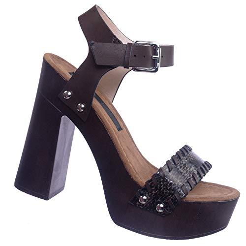 Aquapillar Retro Wooden Block Heel Sandal - Lightweight Boho 70s Sculpted ()