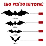 160PCS Halloween 3D Bats Sticker,Waterproof PVC