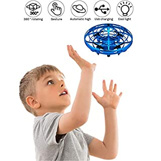 2020 Upgrade UFO Flying Ball Drone for Kids, 5 Interactive Sensor Hand Operated Levitation UFO Mini Drone Easy Play Indoor and Outdoor Scoot Hover Drone Helicopter Toy for Boys and Girls (Blue)