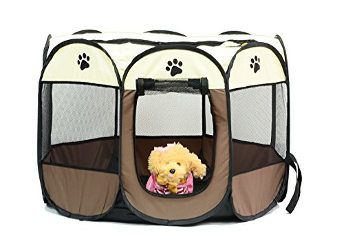 Pet Playpen Foldable Pen for cute Portable Pet Playpen,Like Carry Bag,Indoor/Outdoor use by Dogs/Cats/Rabbit etc.(4 colors,3 Sizes)