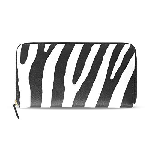 Womens Zipper Wallet Black And White Zebra Clutch Purse Card Holder Bag -
